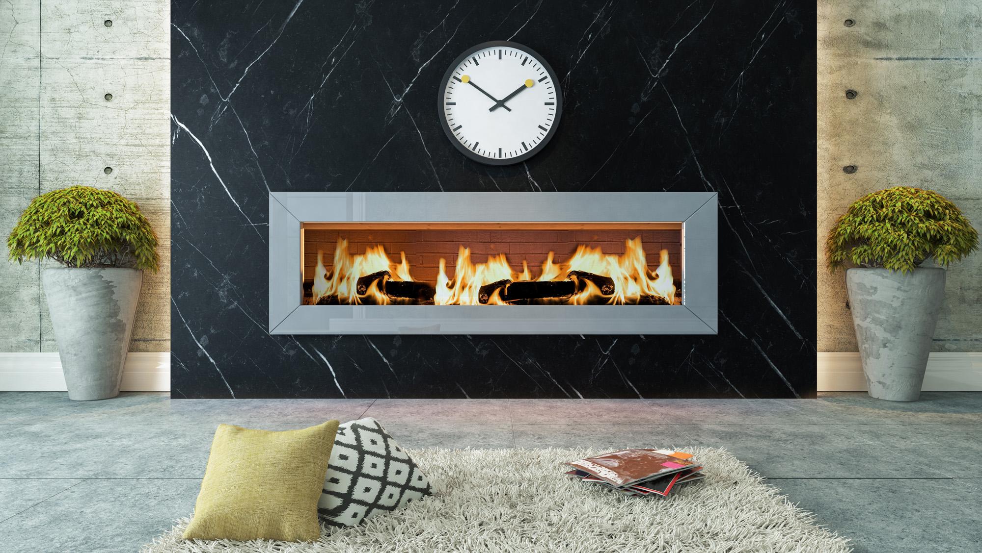 manteau de cheminée en marbre noir