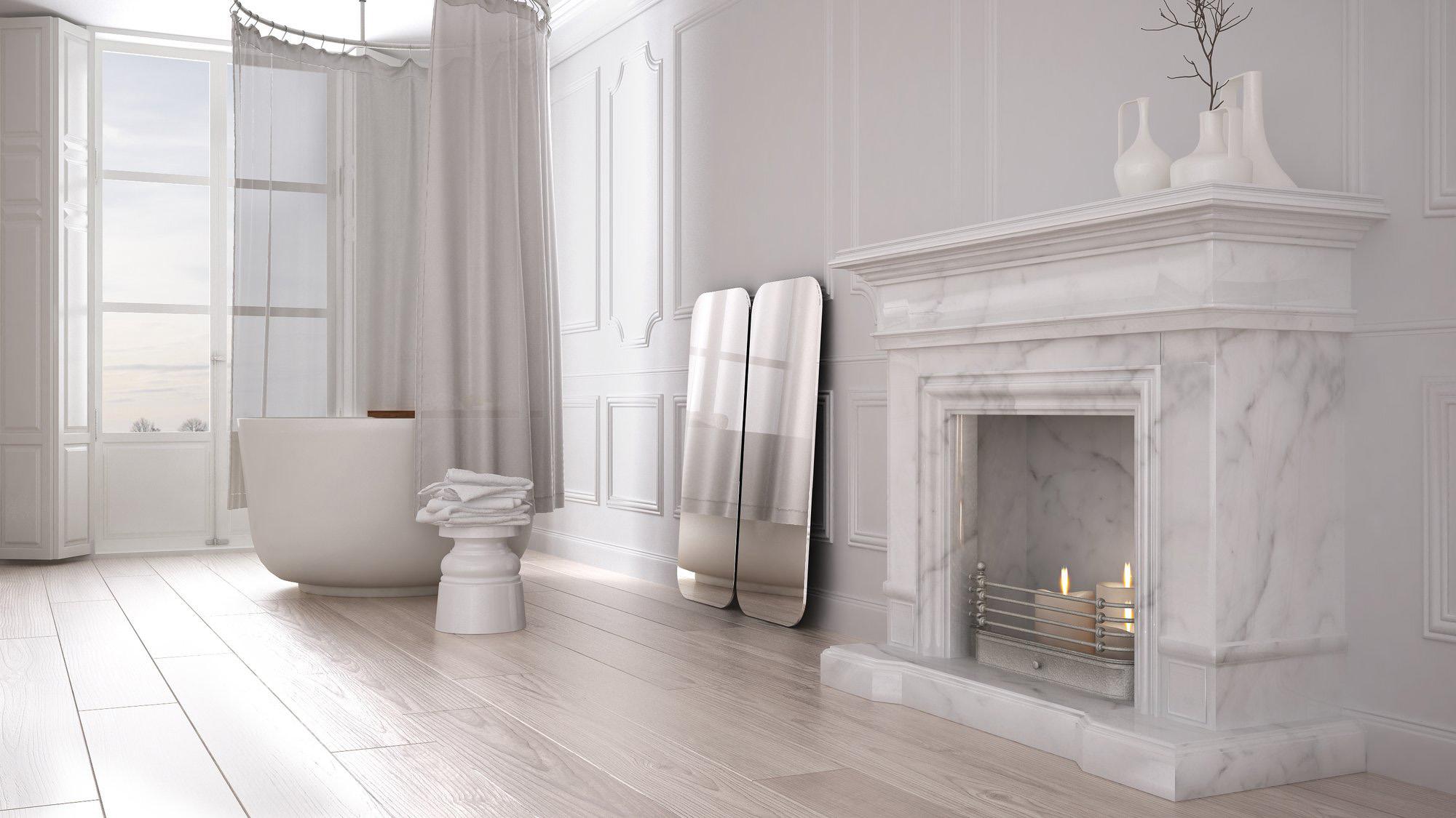 Cheminée en marbre blanc