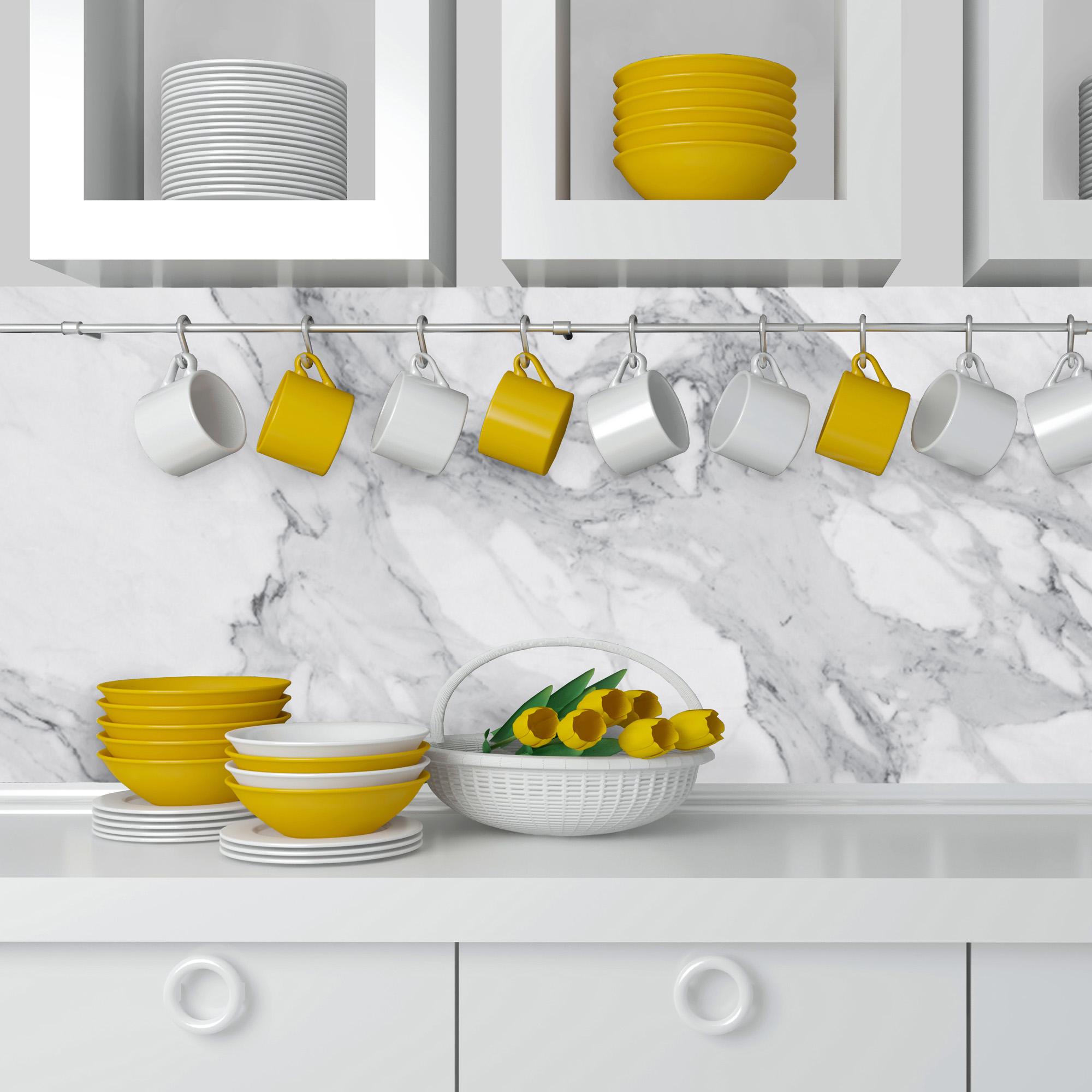 mur cuisine en marbre blanc