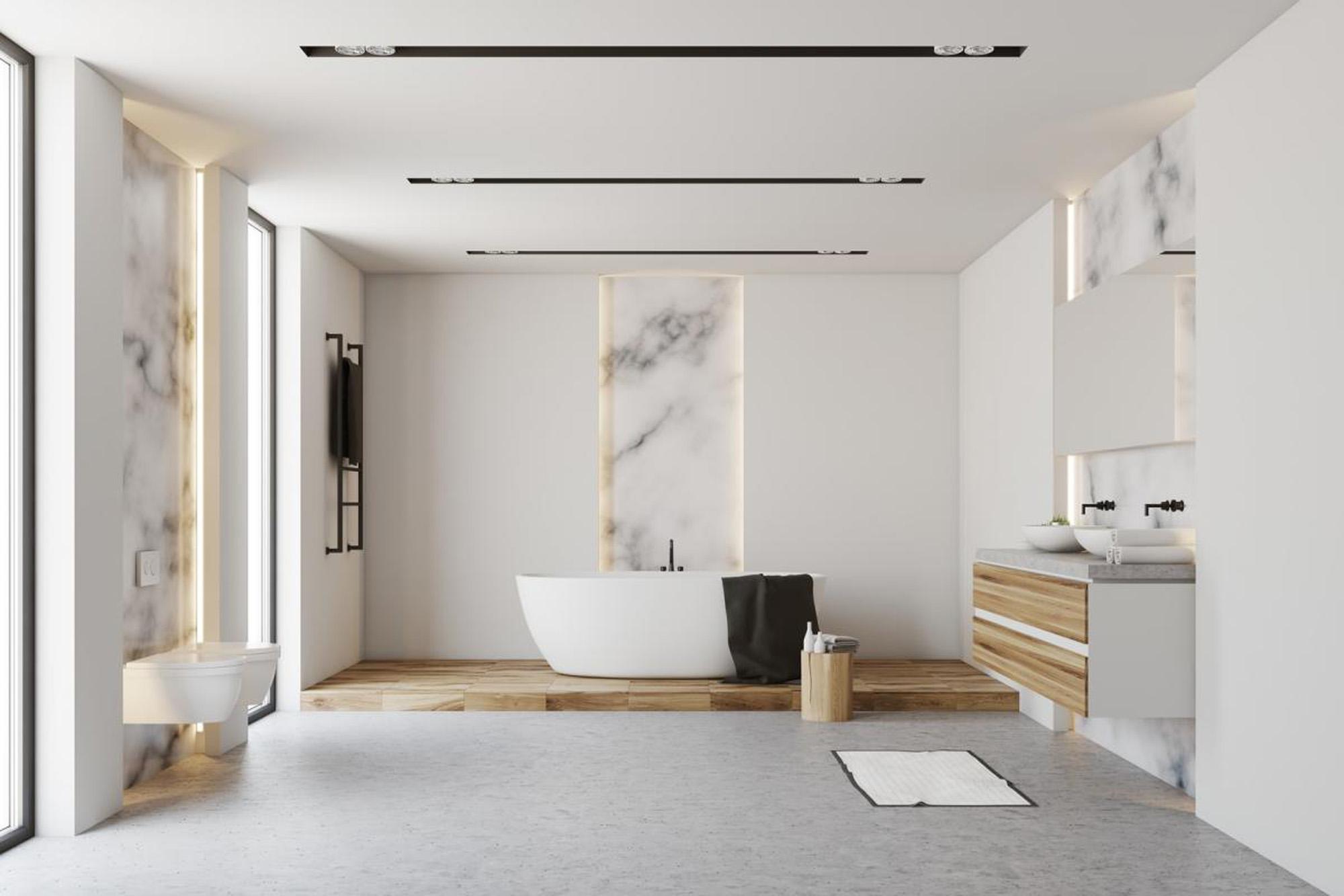 Mur salle de bain en marbre