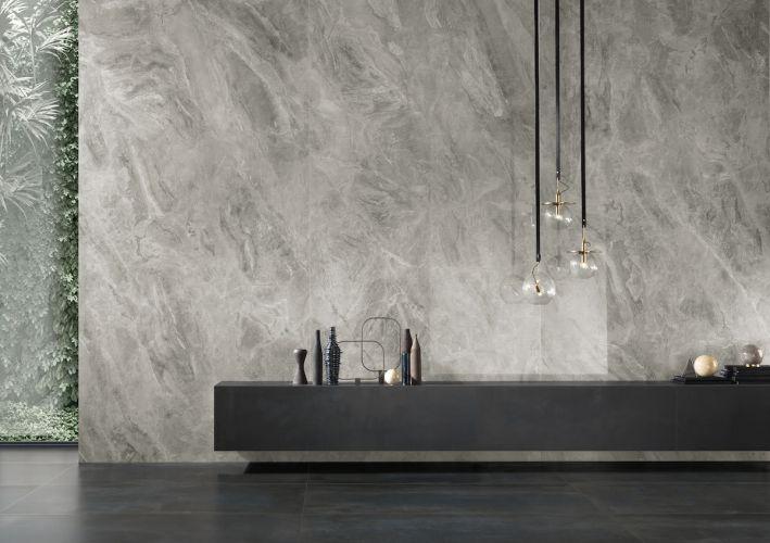 séjour mur en marbre gris