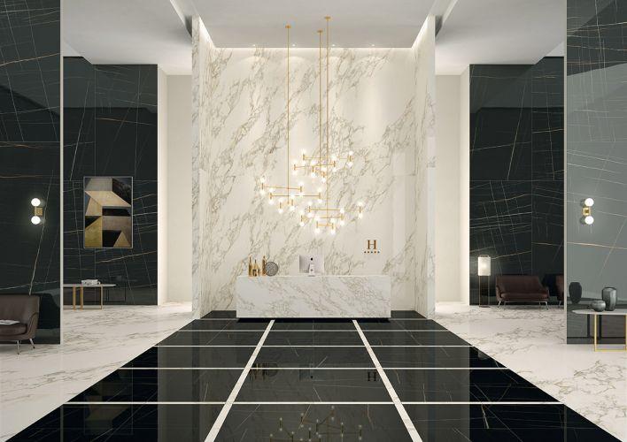 Hall en marbre noir et blanc à Périgueux